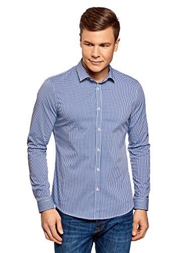 oodji Ultra Herren Hemd Extra Slim Fit mit Feinem Karomuster Blau (7910C)