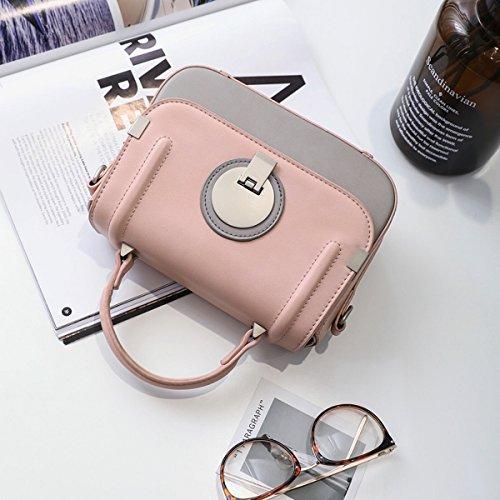 Weibliche hardwareverriegelung schlagfarbe kleine quadratische Beutelschulter kurierbeutelart und Weise wildes paket Rosa