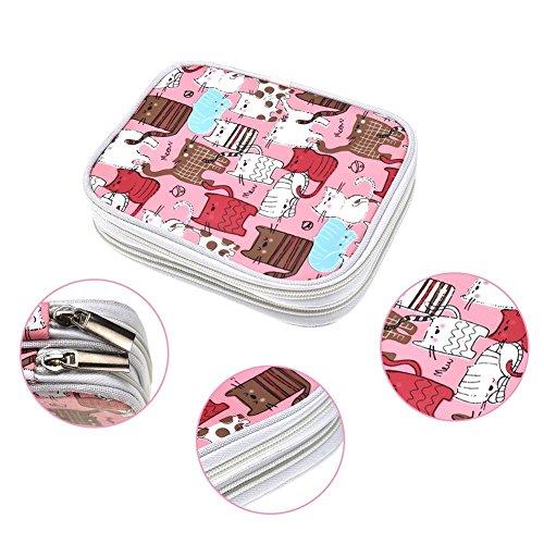 ganizer Tasche mit Reißverschluss mit Web Taschen für div. Crochet Nadeln und Stricken Zubehör, gut gemacht, klein Volumen und leicht zu tragen, Katzen Pink (kein Zubehör enthalten) ()
