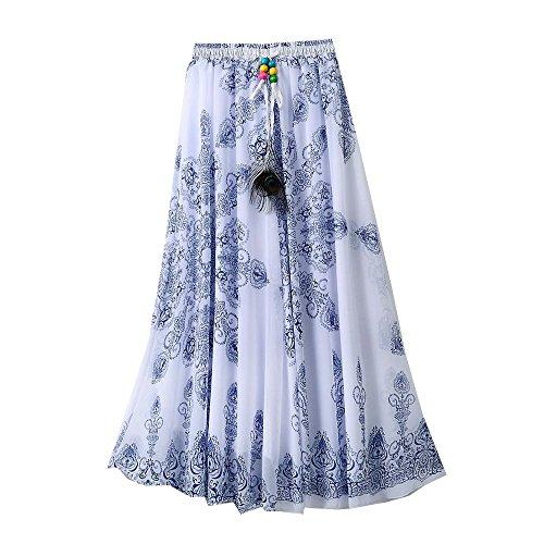 Qissy® Femme Jupe Longue Chiffon Imprimé à fleurs De Bohème Style Plage Taille éLastique En Plage/Soirée Party/Cocktail-Long Maxi Jupe K
