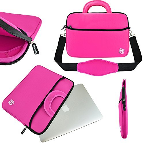 KOZMICC - Neoprene laptop sleeve from 11,6 to 12 ', with handle for Apple MacBook Air Pro, Chromebook, DELL, HP, Samsung (up to 11' x 6 'x 1.5') Pink Rose