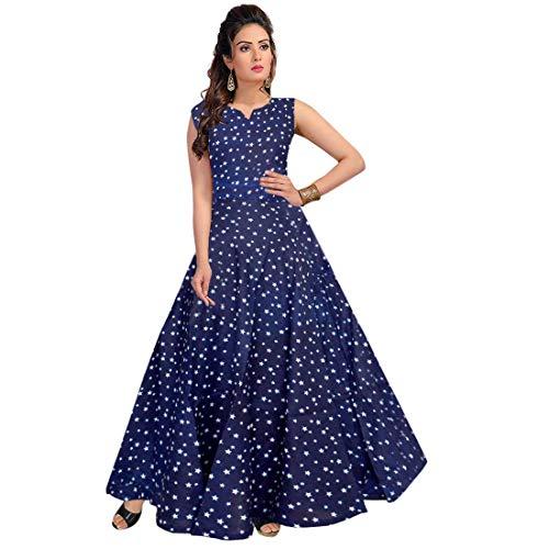 Mudrika Women\'s Long Maxi Dress Jaipuri Floral Print Rayon Midi (up to 44 -XXL,Free Size)