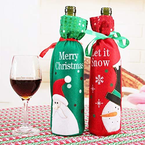 2Stück Wein Flasche, Santa Claus und Schneemann Muster Wein Flasche Tasche für Weihnachten Dekoration Tisch ()