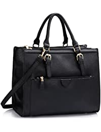 3b38b1903c LeahWard Women s Large Size Handbags Quality Faux Leather Tote Shoulder Bags  A4 School LW366
