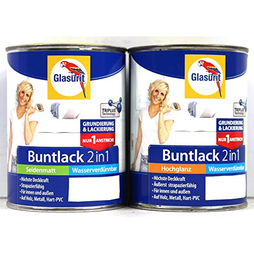 Glasurit 2in1 Buntlack und Grundierung, 0,25 Liter in Terraorange-Seidenmatt