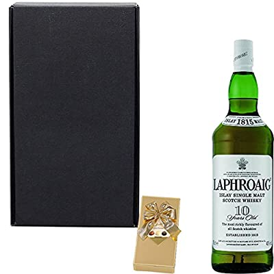 Laphroaig 10 Year Old Single Malt Scotch Whisky 35cl Half Bottle Gift Set With Handcrafted Happy Birthday Gifts2Drink Tag
