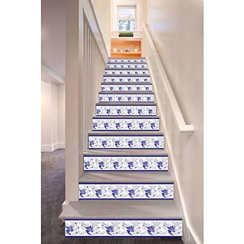 Dunkelblauer Chinesischer Weinlese-Rebe-Muster-Art-Treppen-Aufkleber-Wand-Dekor 6Pcs / Set 18Cm X 100Cm - Natürliche Reben-teppich