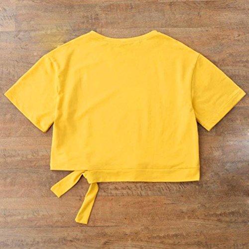 Angelof T-Shirt Col Rond Manches Courtes Femme Top Imprimé Lettre Jaune Blouse Bandes Constratantes Côté Fille Jaune