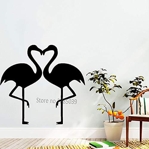 guijiumai Flamingo Cuore Coppia Adesivi murali Adesivo per Coppia Camera da Letto murale Felicità Creativa sfondi Animali Arte Vinile Adesivo L 8 m 60 cm x 56 cm
