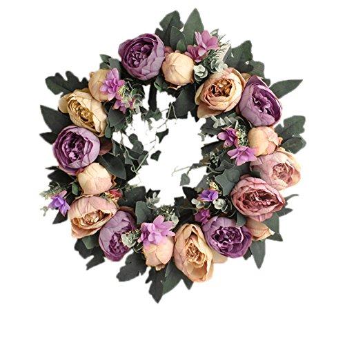 Yuccer Deko-Kranz, Künstlicher Kranz Türkranz Frühling Sommer Handgefertigte Blumenkranz Kränze Hochzeit Feste (Perple) (Frühlings-kranz Für Draußen)