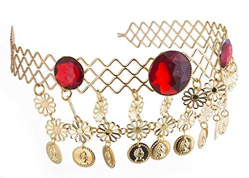 erdbeerclown - Haarreif mit Münzen und Rubinen Antike Kostüm- Orientalisch Römer Kleopatra goldglänzend, Gold (Griechenland Kostüm Für Männer)