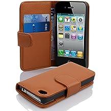 Cadorabo - Funda Apple iPhone 4 / 4S / 4G Book Style de Cuero Sintético en Diseño Libro - Etui Case Cover Carcasa Caja Protección con Tarjetero en MARRÓN-COGNAC