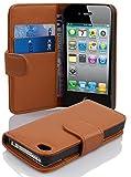 Cadorabo Hülle für Apple iPhone 4/ iPhone 4S Hülle in Cognac braun Handyhülle mit Kartenfach aus Struktriertem Kunstleder Case Cover Schutzhülle Etui Tasche Book Klapp Style Cognac-Braun