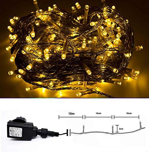 LED Lichterkette für Innen & Außen - 200 LED Warmweiss - transparentes klares Kabel - 10m...