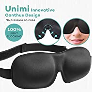 Eye Mask for Sleeping, Unimi Upgraded Sleep Mask Blindfold 3D Contoured Comfortable Eye Patch 100% Blackout -Deeper Softer Lighter and Smoother Best for Traveling Napping (Black)