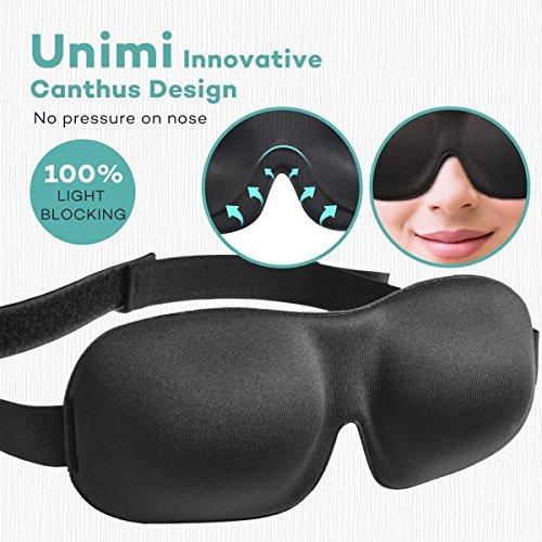 Unimi Premium Schlafmaske, 3D Augenmaske schlafen bequem und weich. Augenmaske für Damen Und Herren mit Gummiband für einen tiefen und erholsamen Schlaf Komplett Dunkelheit gegen Licht -