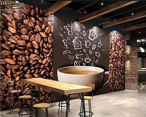 Wallswot 3D Wallpapers Benutzerdefinierte Tapete Wandbild Nostalgische Kaffeebohnen Cafe Tooling Papers Home Decor 3D Wallpaper-200Cmx140Cm