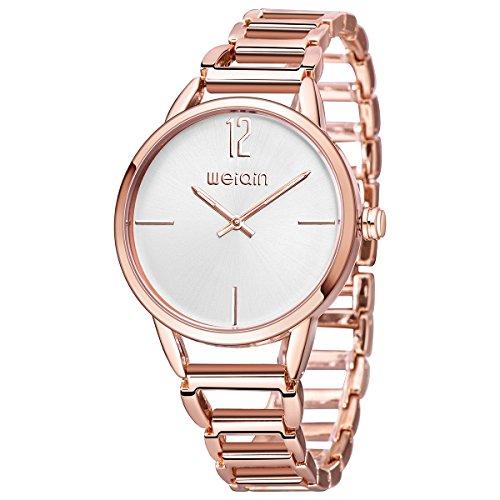 Astarsport Mujer Analógico Cuarzo Relojes de Pulsera Acero Inoxidable Oro Rosa