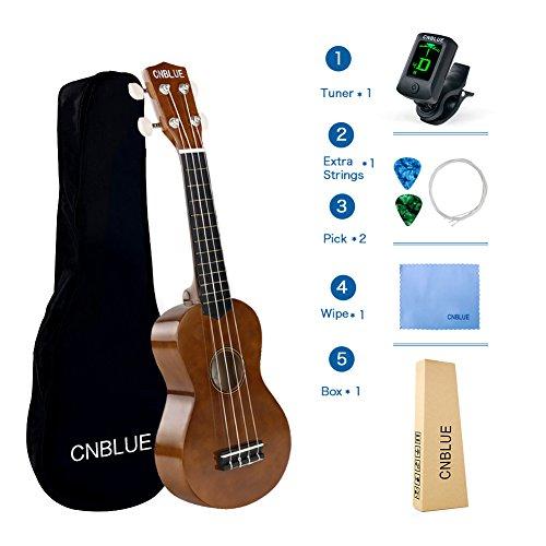 CNBLUE Sopran Ukulele Beginner Anfänger Pack Starter Kits 21 Zoll Hawaii Ukulele mit Tasche, Picks, Extra Saiten, Wischen (braun)