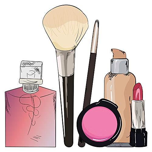 I-love-Wandtattoo WAS-11717 Wohnraum Beauty Wandsticker 'Make up mit Pinsel, Rouge, Lippenstift und...