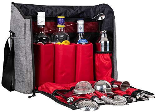 Bar-tool (Barkeeper Tasche und Tasche mit Barwerkzeugen, Grau Bartender Bag with Bar Tools silber)