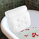 Ecooe Komfort Badewannen Kissen Badekissen Optimales Badewannenkissen mit 5 Saugnäpfen Und Grobmaschiges Mesh Wannenkissen Nackenkissen Höchster Komfort für Kopf und Nacken Rutschfeste in Weiß