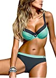 Sexy Damen Push Up Bikini Set Bademode Bandage Strand Bikinis - Blau - Medium