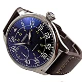 44mm parnis 6497, mecánica hombres del reloj Negro Dial