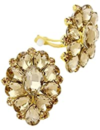 Schmuckanthony Glamour Ohrclips Clips Clip On Ohrringe Kristall Honig Gold 4x3cm