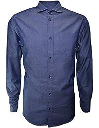 Armani Jeans Men's Navy Blue Pinstripe Long Sleeve Shirt