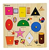 #8: BabyGo Wooden Shapes Identification Teaching Tray with Pictures & Knobs (30cm x 30cm) (Multi Color)