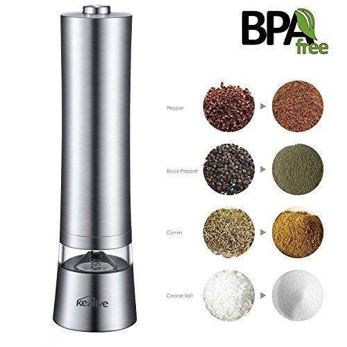 Pfeffermühle, Kealive Elektrische Edelstahl Pfeffermühle, Salz und Gewürzmühle, Keramikschleifer mit verstellbarer Feinheit, Silber