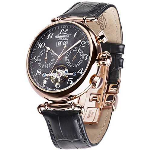 Ingersoll IN1319RBK - Reloj de pulsera Mujer, Cuero, color Negro