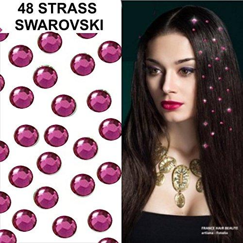 promo-kit-hochzeit-48-strass-fuchsia-schmuck-haar-swarovski-4-mm-diametre-48-strass-4-blatter-tattoo