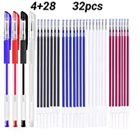 Heat Erasable Fabric Marking Pens with 28 Refills for Tailors Sewing, and Quilting Dressmaking, 4 Colors Heat Erase Pens for Various Colors of Fabrics.