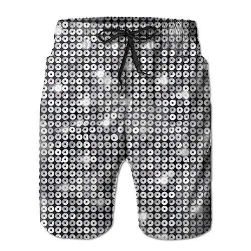 Men's Casual Shorts Swim Trunks Summer Beach Pants Swimsuits Golf Shorts Silver Sequin Sparkle Print X-Large Capezio Capris