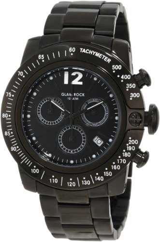 Glam Rock 0.96.2699 Unisex Quartz Watch with Black Dial Analogue Display and Black Stainless Steel Bracelet GR32145