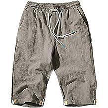 Hombre Pantalones con Bolsillos Cortos Chinos Pantalones Anchos Baggy Casual Transpirable Pantalones De Lino 4BKamOM