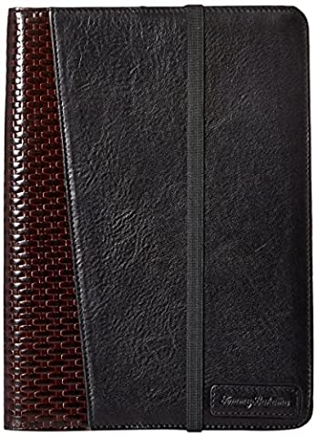 Tommy Bahama Men's Milled Leather and Basket Weave Ipad Case,Black,One Size