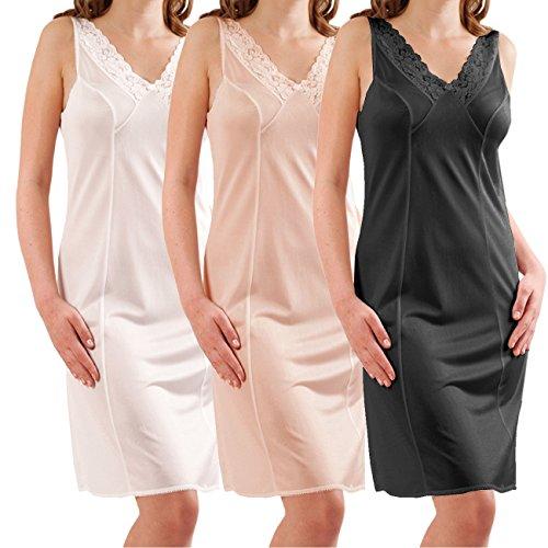 Graziella Damen Unterrock Unterkleid mit Spitze Gr. 40 - 60 ca. 98 cm antistatisch Made in Germany Puder