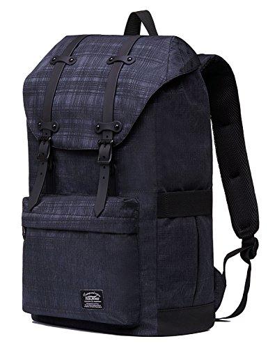 """Rucksack Damen Herren Vintage KAUKKO Reiserucksack Studenten Rucksack Laptop Rucksack für 14"""" Notebook Lässiger Daypacks Schultaschen of 2 Side Pockets für Wandern Reisen Camping (7BLACK) 43black2"""
