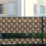 Videx Sichtschutzstreifen für Doppelstabmatten, PVC Holzmaserung, H: 9,5 x L: 200 cm, 18 Stück, teak