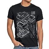 style3 8 Bit Handheld Blaupause Herren T-Shirt Videospiel, Größe:XL;Farbe:Schwarz