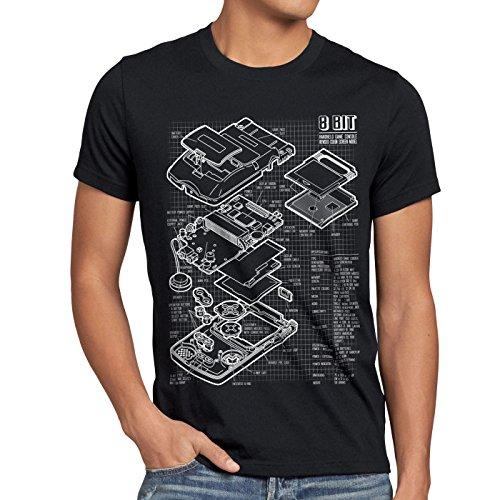style3 8 Bit Handheld Blaupause Herren T-Shirt Videospiel, Größe:S;Farbe:Schwarz (8-bit-t-shirts)