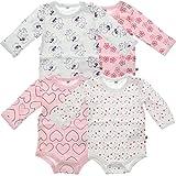 Pippi 4er Pack Baby Mädchen Body mit Aufdruck, Langarm, Alter 0-1 Monate, Größe: 50, Farbe: Rosa, 3819