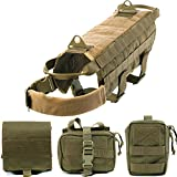 verstellbar Tactical Vest Hund Petcomer Tactical Dog Training Harness Nylon Gepolsterte Satteltasche Military Vest with 2 Detachable Pouches and Pulling Handle