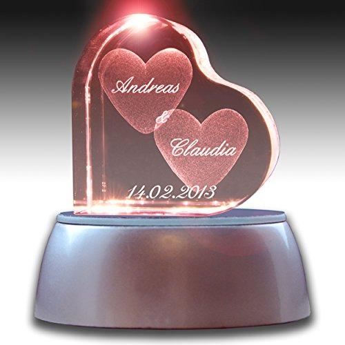 Stimmungslicht LED Valentinstags Special | Herzform mit deiner Wunschgravur | GRATIS Leuchtsockel wechselnde Farben
