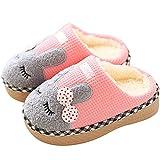 SAGUARO ® Kinder Plüsch Hausschuhe Winter Gefüttert Warm Baumwolle Pantoffeln Home Rutschfeste Weiche Slippers für Jungen Mädchen Baby, Pink 25/