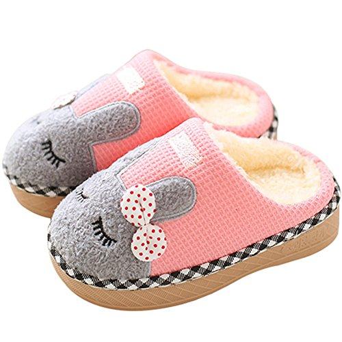SAGUARO® Kinder Plüsch Hausschuhe Winter Gefüttert Warm Baumwolle Pantoffeln Home Rutschfeste Weiche Slippers für Jungen Mädchen Baby, Pink 25/28