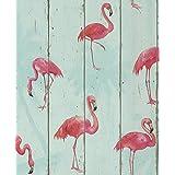 Rasch Rollo de papel de pared, fácil de colocar, alta calidad, acabado suave, diseño de flamencos rosa